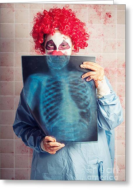 Scary Clown Greeting Cards - Scary clown peeking behind x-ray. Funny bones Greeting Card by Ryan Jorgensen