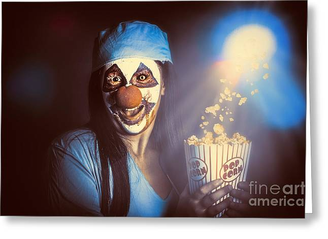 Movie Monsters Greeting Cards - Scary clown watching horror movie in THEATER Greeting Card by Ryan Jorgensen