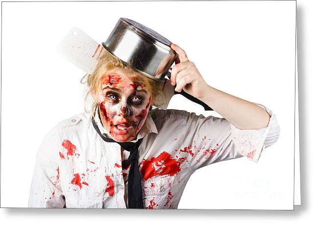 Despair Greeting Cards - Scary cook making mess with jam Greeting Card by Ryan Jorgensen