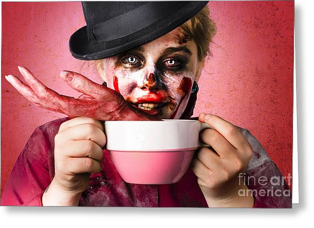 Fiend Greeting Cards - Scary female zombie drinking handmade soup Greeting Card by Ryan Jorgensen
