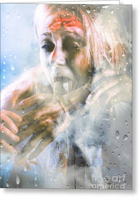 Glass Wall Greeting Cards - Scary horror zombie licking human hand at window Greeting Card by Ryan Jorgensen