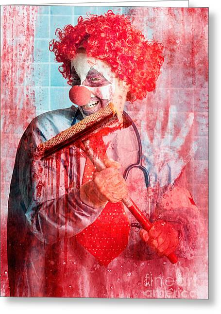 Scary Clown Greeting Cards - Scary hospital clown cleaning blood smeared window Greeting Card by Ryan Jorgensen