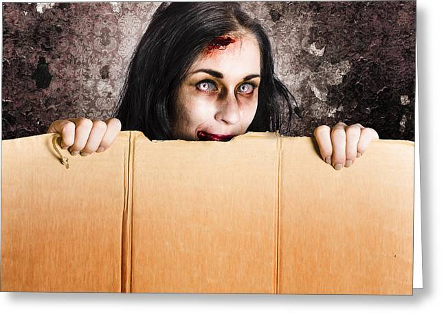Cardboard Greeting Cards - Scary zombie girl advertising halloween price cut Greeting Card by Ryan Jorgensen