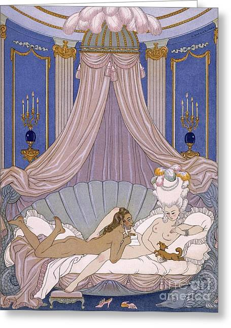 Opulence Greeting Cards - Scene from Les Liaisons Dangereuses Greeting Card by Georges Barbier