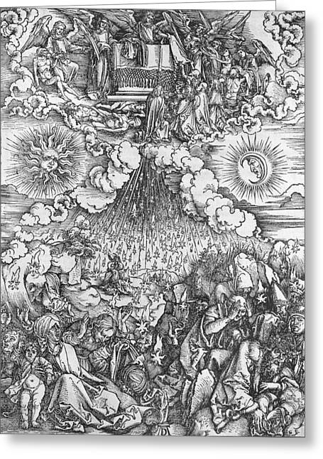 Martyrs Drawings Greeting Cards - Scene from the Apocalypse Greeting Card by Albrecht Durer or Duerer