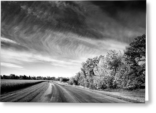 Field. Cloud Greeting Cards - Scenic Road Through Autumn Landscape Greeting Card by Donald  Erickson