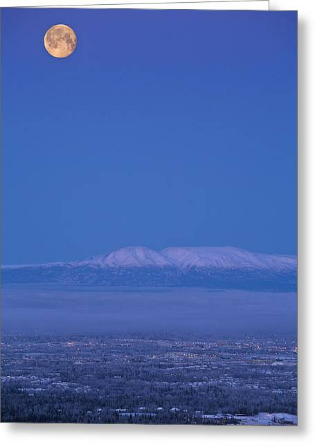 Hdr Landscape Greeting Cards - Scenic View Of The Full Moon Over Mt Greeting Card by Jeff Schultz