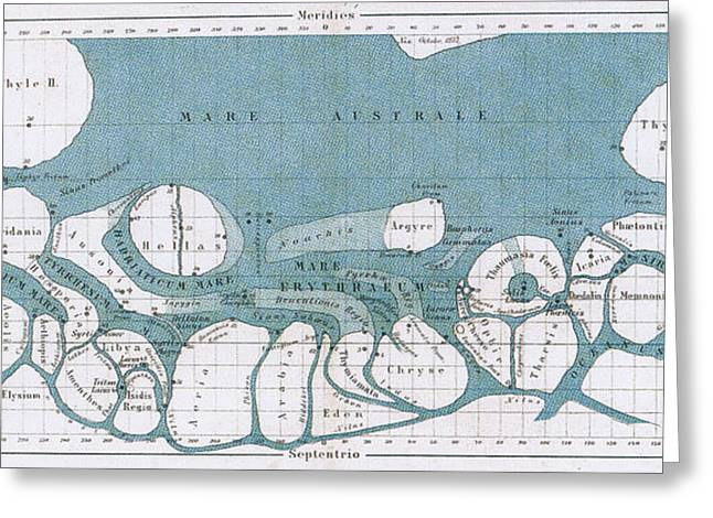 Planet Map Greeting Cards - Schiaparelli Mars Map, 1877-78 Greeting Card by Science Source