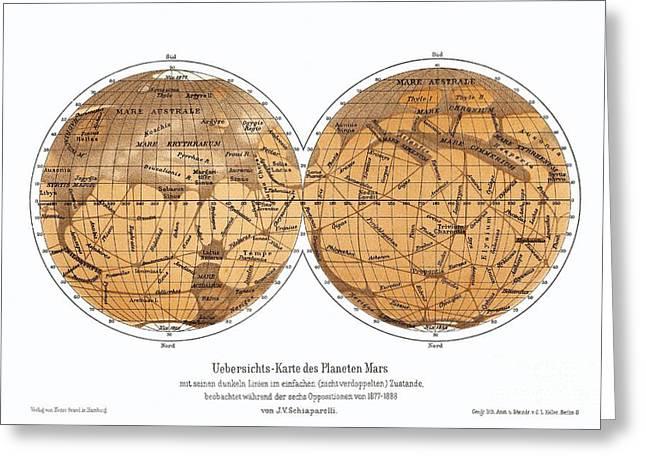 Planet Map Greeting Cards - Schiaparellis Map Of Mars, 1877-1888 Greeting Card by Detlev van Ravenswaay