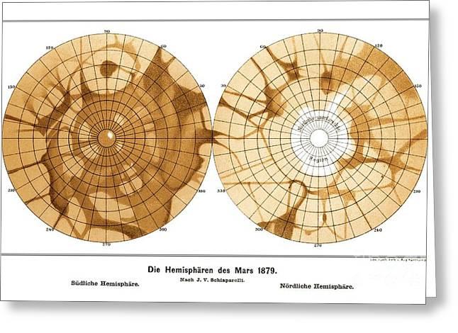 Planet Map Photographs Greeting Cards - Schiaparellis Map Of Mars, 1879 Greeting Card by Detlev van Ravenswaay