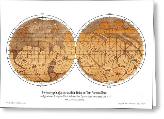 Planet Map Greeting Cards - Schiaparellis Map Of Mars, 1882-1888 Greeting Card by Detlev van Ravenswaay