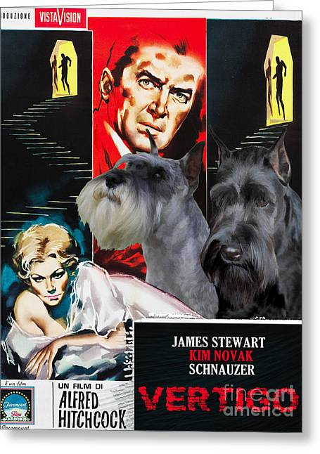 Vertigo Greeting Cards - Schnauzer Art Canvas Print - Vertigo Movie Poster Greeting Card by Sandra Sij