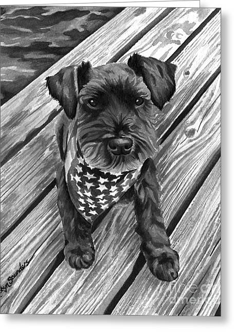 Independence Day Paintings Greeting Cards - Ragnar Black Dog Greeting Card by Robyn Saunders
