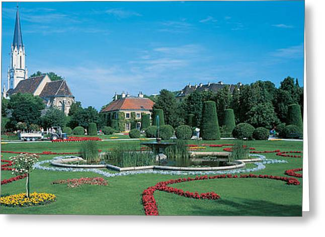 Trees Reflecting In Water Greeting Cards - Schonbrunn Palace Vienna Austria Greeting Card by Panoramic Images
