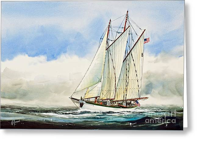 Schooner Paintings Greeting Cards - Historic Schooner ZODIAC Greeting Card by James Williamson