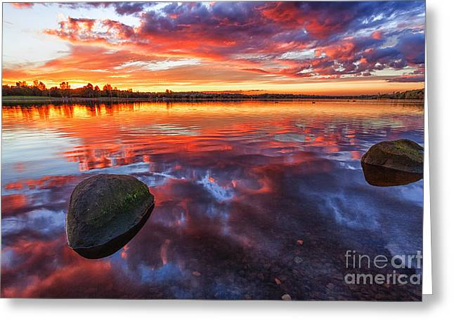 Scotland Landscapes Greeting Cards - Scottish Loch at Sunset Greeting Card by John Farnan