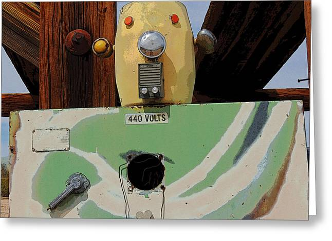Goff Greeting Cards - Scrappy the Robot Greeting Card by Donna Lee Young