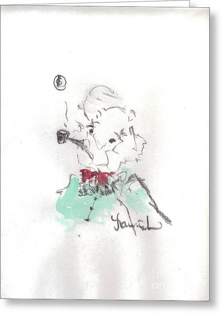 Laurie D Lundquist Mixed Media Greeting Cards - Scrooge Greeting Card by Laurie D Lundquist