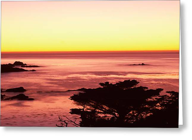 Sea At Sunset, Point Lobos State Greeting Card by Panoramic Images