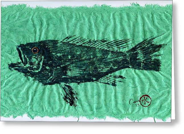 Bass Fish Mixed Media Greeting Cards - Sea Bass on Aegean Green Thai Unryu Paper Greeting Card by Jeffrey Canha