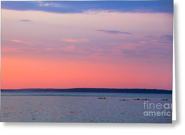 New England Ocean Greeting Cards - Sea Kayakers in Frenchman Bay Maine Greeting Card by Diane Diederich