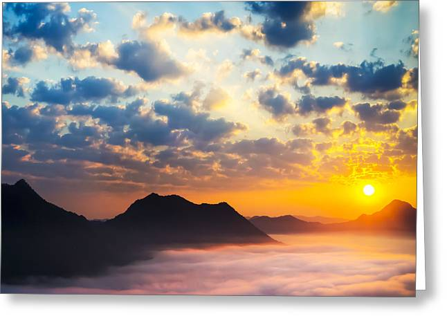 Sunrise Greeting Cards - Sea of clouds on sunrise with ray lighting Greeting Card by Setsiri Silapasuwanchai