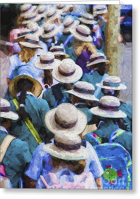 Schoolgirl Greeting Cards - Sea of Hats Greeting Card by Sheila Smart