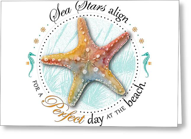 Seashell Digital Art Greeting Cards - Sea stars align for a perfect day at the beach Greeting Card by Amy Kirkpatrick