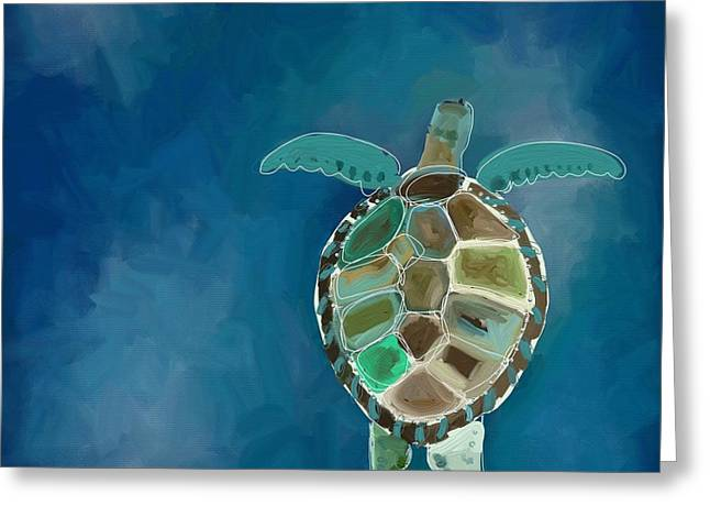 Ocean Turtle Paintings Greeting Cards - Sea Turtle Greeting Card by Cathy Walters