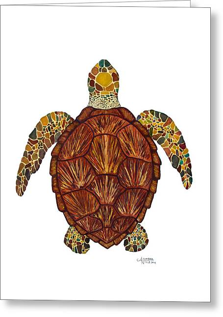 Ocean Turtle Paintings Greeting Cards - Sea Turtle Mosaic  Greeting Card by Alexandra Nicole Newton