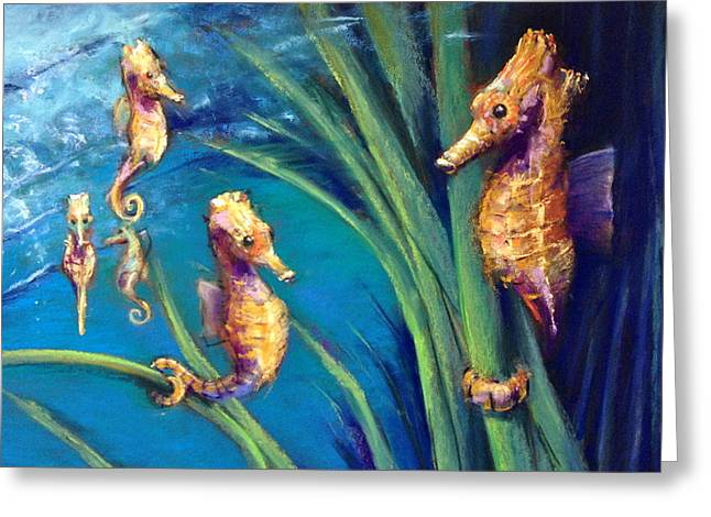 Seahorse Pastels Greeting Cards - Seahorse Peace Greeting Card by Barbara Richert