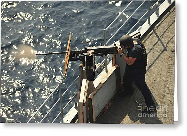 Gulf Team Greeting Cards - Seaman Fires A .50-caliber Machine Gun Greeting Card by Stocktrek Images