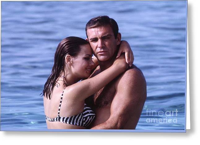 Sean Connery And Claudine Auger During Filming Of Thunderball Greeting Card by The Phillip Harrington Collection
