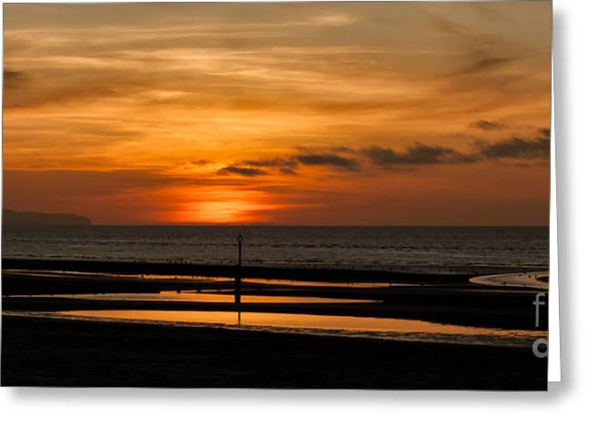 Nature Scene Digital Art Greeting Cards - Seascape Sunset  Greeting Card by Adrian Evans