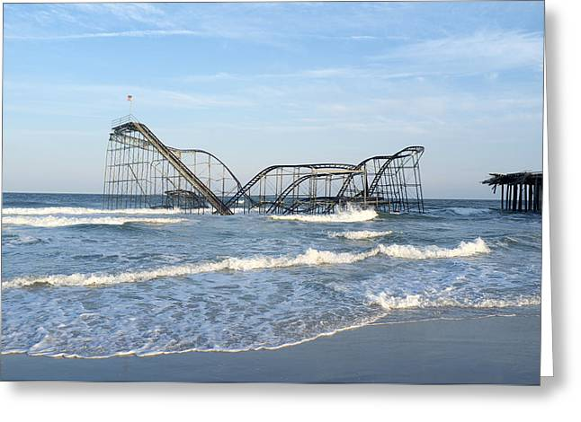 Jetstar Photographs Greeting Cards - Seaside Heights - Jet Star Roller Coaster in Ocean Greeting Card by Niday Picture Library
