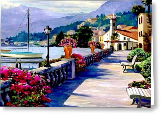 Seascape With A Boat Greeting Cards - Seaside Pathway II Greeting Card by Ronald Chambers