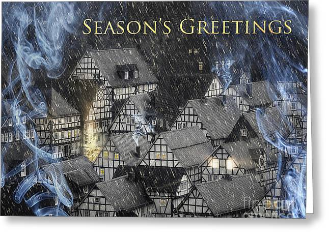 Chimney With Smoke Greeting Cards - Seasons Greetings Greeting Card by Edmund Nagele