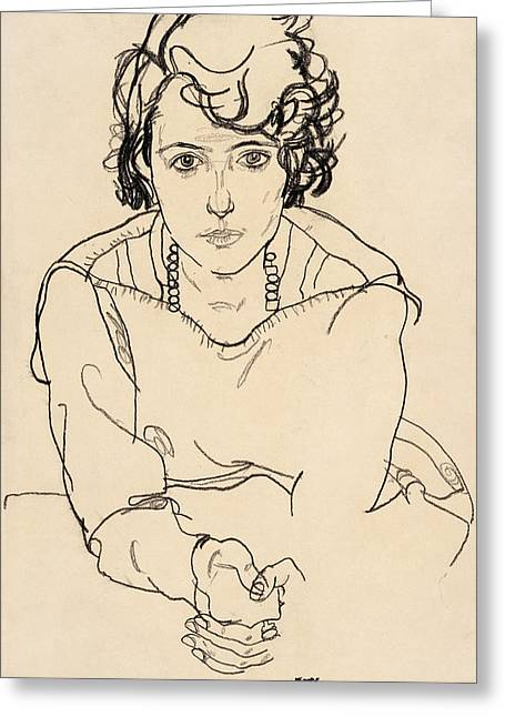 Basquiat Drawings Greeting Cards - Seated Woman Greeting Card by Egon Schiele