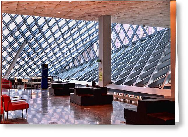 Ultra Modern Greeting Cards - Seattle Library Reading Room 2 Greeting Card by Allen Beatty
