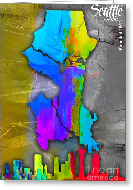 Seattle Skyline Mixed Media Greeting Cards - Seattle Map and Skyline Watercolor Greeting Card by Marvin Blaine