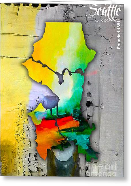 Seattle Map Watercolor Greeting Card by Marvin Blaine