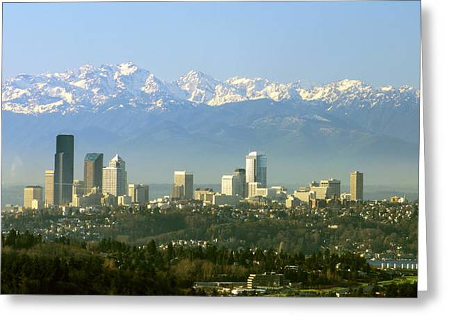 Seattle Skyline Greeting Card by King Wu