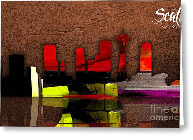 Seattle Skyline Mixed Media Greeting Cards - Seattle Skyline Watercolor Greeting Card by Marvin Blaine