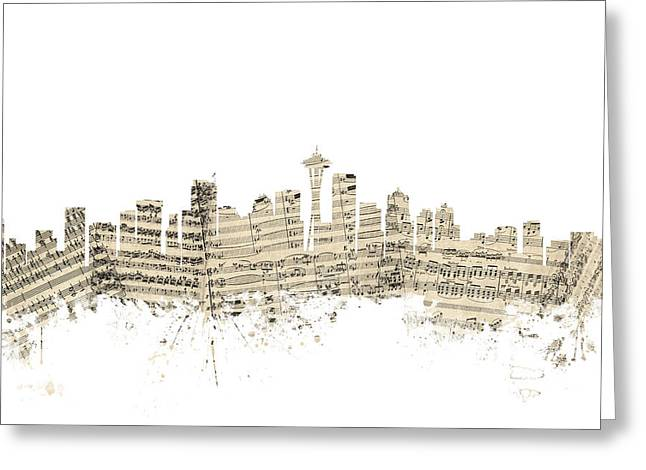 Seattle Skyline Greeting Cards - Seattle Washington Skyline Sheet Music Cityscape Greeting Card by Michael Tompsett