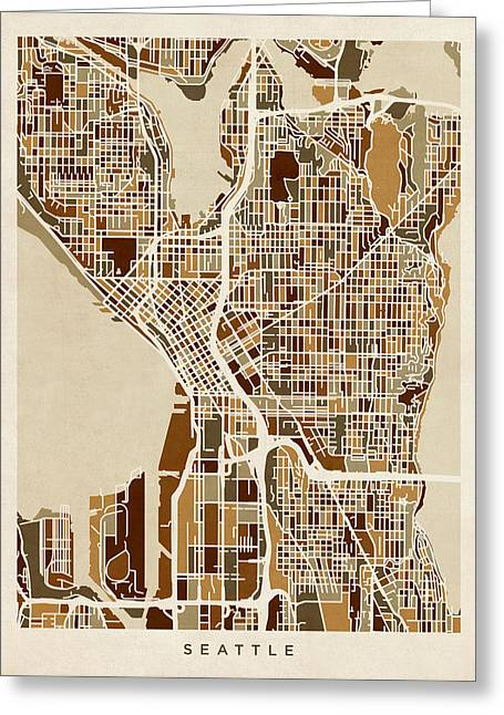 Street Maps Greeting Cards - Seattle Washington Street Map Greeting Card by Michael Tompsett