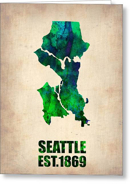 Seattle Washington Greeting Cards - Seattle Watercolor Map Greeting Card by Naxart Studio