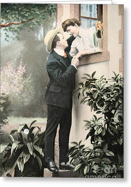 Old Post Card Greeting Cards - Secret romance. Vintage postcard 1907 Greeting Card by Patricia Hofmeester