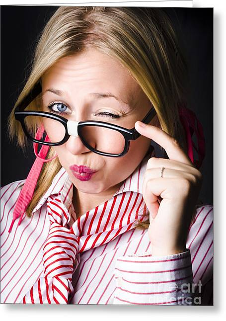 Secretive Nerd Misleading With A Wink Of Deceit  Greeting Card by Jorgo Photography - Wall Art Gallery