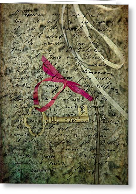 French Handwriting Greeting Cards - Secrets Greeting Card by Rebecca Cozart