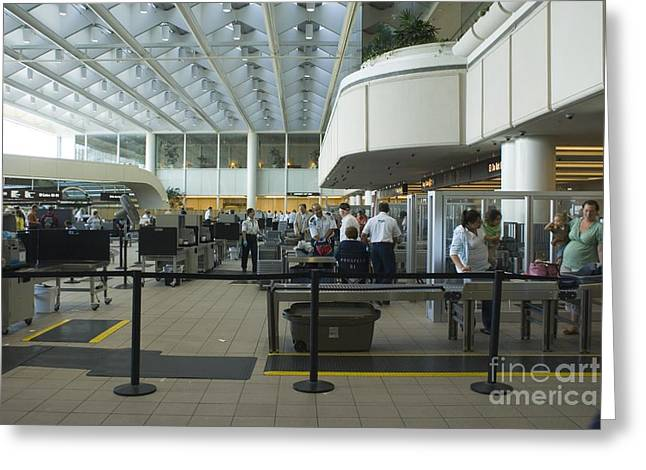 Terrorism Greeting Cards - Security Area At Orlando Airport Florida Greeting Card by Mark Williamson
